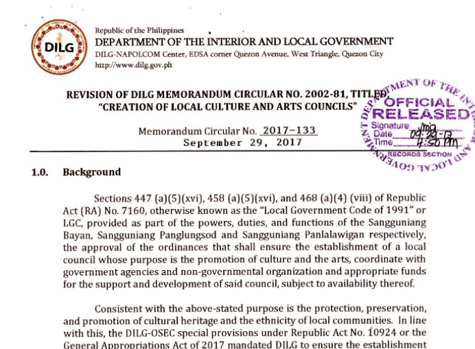 DILG issues Memorandum Circular on the creation of Local Culture and Arts Council through the NCCA