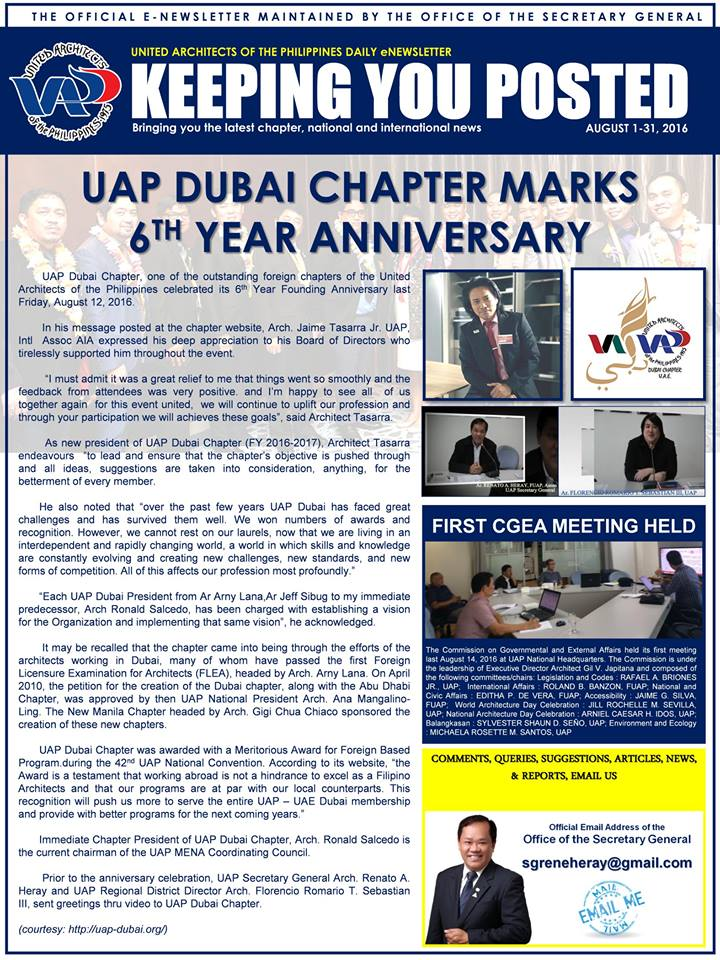 UAP Keeping You Posted - August 2016 (Part 1) Issue