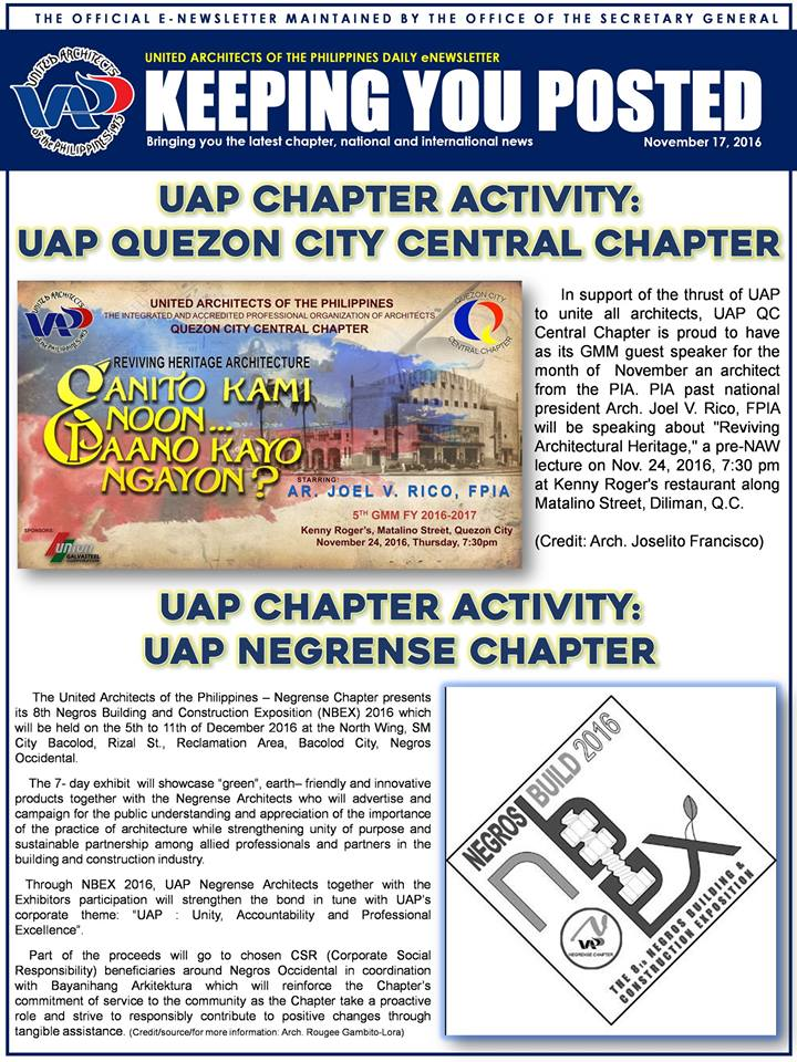 UAP Keeping You Posted - November 2016 (Part 1) Issue