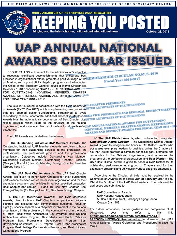 UAP Keeping You Posted - October 2016 (Part 2) Issue
